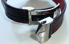 22mm Red Stitching Leather Band Strap with Deployment Clasp for Tag Heuer