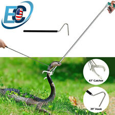 """47"""" Wide Jaw Snake Tong Stick Grabber+39"""" Retractable Hook Reptile Handling Tool"""