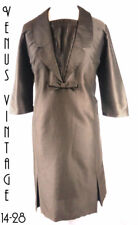 "UK 20 Vintage 1960s Brown Wiggle Cocktail Dress Silky Jackie Mod Bust 46"" 117cm"