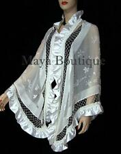 Ivory Shawl Scarf Wrap Silk Beaded Burnout Velvet Triangle Ruffles Maya Matazaro