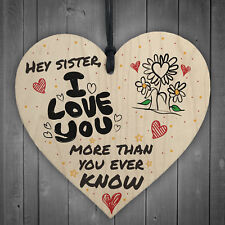 MY SISTER I Love You Big Little Sis Wooden Heart Plaque Love Sign Birthday Gift