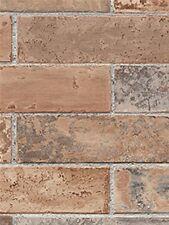 WALLPAPER BY THE YARD Red Rust Brick Wall Wallpaper/ Earth Tone Faux Stone Prepa