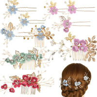 Wedding Crystal Crown Flower Hair Pin Hair Combs Leaves Tiara Bridal Clips