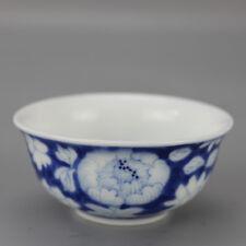 China antique Porcelain hand painting Qing Qianlong blue & white flower bowl cup