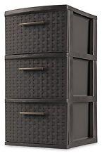 Set of 2 Espresso Plastic Storage Box Organizer NEW 3 Drawer Storage Weave Cart