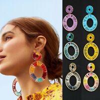 Fashion Raffia Geometric Earrings Drop Dangle Braid Handmake Women Jewellery