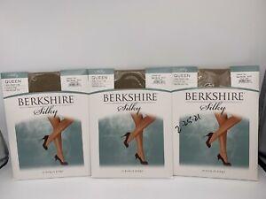 3 Pr Berkshire Silky Sheer Control Top Pantyhose -Natural Tan -Queen 5X-6X