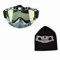 2 in 1 MOTORCYCLE BIKE SKI SNOWBOARD FACE MASK + UV PROTECTION GOGGLES SET