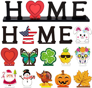 Home Table Decoration Set with 12 Pieces Wooden DecorativeSign Home Letter Sign