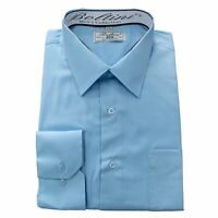 Boltini Italy Men's Collection Long Sleeve Dress Shirts Convertible Light Blue