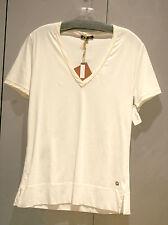 NWT Loro Piana V Neck Cotton & Silk SS Ivory Top Blouse 48/14 FS