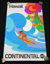 1969 Original Hawaii Continental Airlines Rainbow Surfer Poster (Hol)#41