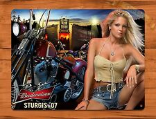 "TIN-UPS TIN SIGN ""Bud Girl Calender"" Sturgis Motorcycle Pin Up Beer Budweiser"