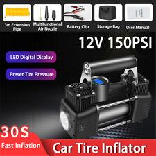 12V 150PSI Dual Cylinder Car Tire Inflator Portable Auto Air Compressor Pump