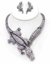 set Silver 18 Inch wedding Austrian crystal alligator party necklace earring