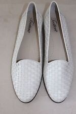 Women's TROTTERS White Leather Woven Slip-On Loafers Sz 9M L#246