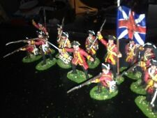 12 Painted 1/32 54mm 7YW French & Indian War British Infantry w Command & Flag !