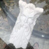 Vtg CHALKWARE PLASTER Leaf Man FACE WALL SCONCE Whimsical Garden White Shelf