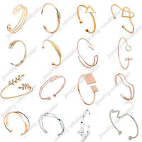 Lots Fashion Women Gold Silver Punk Cuff Bracelet Bangle Chain Wristband Jewelry