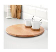 "IKEA Lazy Susan Serving Tray Birch 15"" Round Solid Wood Snudda NEW"