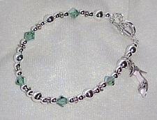 Bracelets: Crystalized Sterling Shoe Charm on Green Swarovski HandCrafted Strand