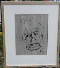 Heinrich Arrigo Wittler Selbstportrait Tusche Worpswede Zeichnung orig Rahmen