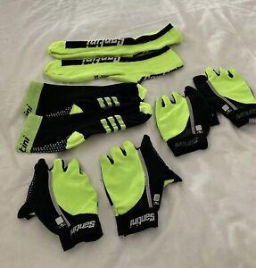 2 x Santini fingerless gloves + 2 pair socks  black/yellow size xl/xxl