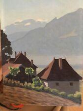 L.CONTESSE,actif XXe.Maisons dans un paysage de montagne.Huile/panneau.SBD.35x24