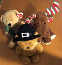 3 Ty Holiday Pluffies: Lil Pilgrim Bear, Beary Merry And Merry Moose