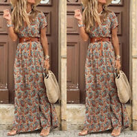 Women's Wrap Summer Boho Floral Paisley Maxi Dress Holiday Beach Long Dresses