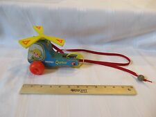 Vintage Fisher Price Pull Toy Wooden Helicopter 448 Mini Copter Pilot Girl Dog