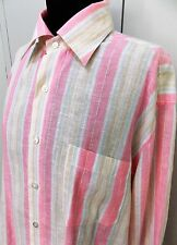 Immaculate Size L Gran Sasso Italian Pink & White Striped Linen Blouse-61cm Bust