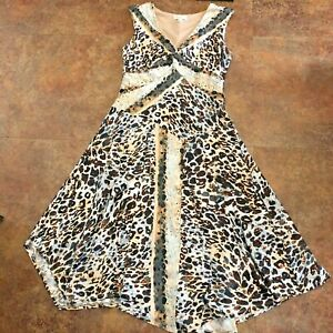 Dress Barn Dress Size 12 Sleeveless Fit N Flare Leopard Print Lined Poly Comfort