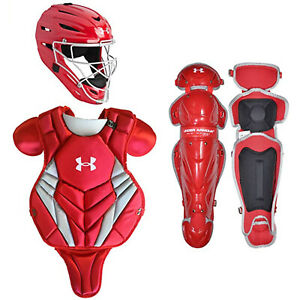 Under Armour Converge Victory Youth Baseball Catcher's Set, Scarlet, Youth 9-12