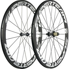 SUPERTEAM White Decal Road Bicycle Carbon Wheelset Clincher 50mm Carbon Wheels