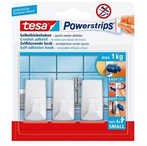 Tesa Powerstrips Haken Small Eckig Weiß Festnageln Haken Zubehor NEU