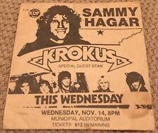 Sammy Hagar Concert Ad Nashville Krokus