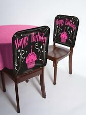 Happy Birthday Cupcake Party Pink Black Plastic Banquet Decoration Chair Cover