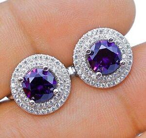 AAA Grade 2CT Amethyst & White Topaz 925 Sterling Silver Earrings Jewelry, V5