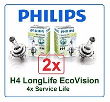2x H4 LongLife EcoVision PHILIPS 4x Long Life 60/55W 12V P43t 12342 eco vision