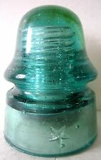 Antique Glass Insulator Embedded White Flakes Olive Swirl Star Aqua CD-162 [010]