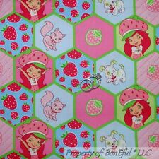 BonEful FABRIC FQ Cotton Quilt Pink Red Girl S Doll Strawberry Shortcake Cat Dog