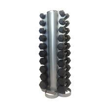 1kg to 10kg Rubber Hex Dumbbells Including Tower Rack