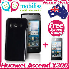 Black TPU Gel Jelly Case Cover Skin Screen Protector Telstra Huawei Ascend Y300