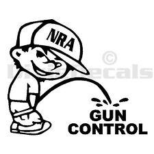 "6"" NRA Calvin Pee Piss on Gun Control Anti Socialist Vinyl Decal Window Sticker"