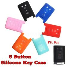 Silicone 5 Buttons Remote Smart Key Case Cover For Cadillac SRX SLS CTS STS  /