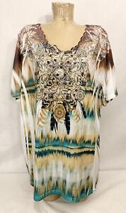 """Liz & Me Catherine's Shirt Plus Size 2x 22w 24w 29.5"""" Green Crochet Feather"""
