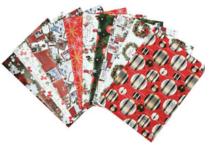 Christmas Wrapping Paper, 2, 5 sheets Present Gift Wrap Traditional Xmas Design