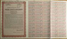 ITT/International Telephone Telegraph SPECIMEN UK Stock/Bond Certificate - Brown