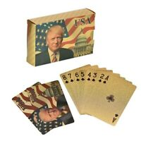 2 Decks Donald Trump Gold Foil Waterproof Plastic Playing Poker Deck Game Cards
